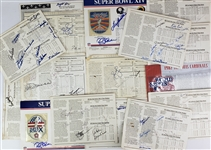 "1948-99 Baseball & Football Signed 9"" x 12"" Patch & Logo Sheets - Lot of 17 w/ Super Bowls, World Series & More"