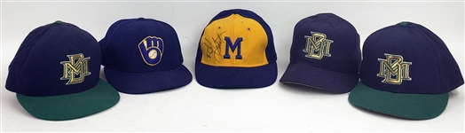 1970s-90s Milwaukee Brewers Game Worn/Signed  Cap Collection - Lot of 5 w/ Robin Yount Signed & More (MEARS LOA/JSA)