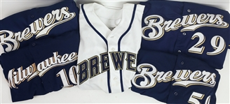 1999-2016 Milwaukee Brewers Jersey Collection - Lot of 5 w/ Rod Carew, Derrick Turnbow, Ron Roenicke Signed & Gorman Thomas Signed (MEARS LOA)