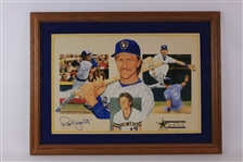 "1999 Robin Yount Milwaukee Brewers Signed 25"" x 34"" Framed Hall of Fame Lithograph (JSA/Artist COA) 75/500"