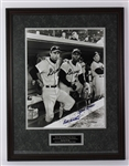 "1999 Hank Aaron Eddie Mathews Milwaukee Brewers Signed 24"" x 31"" Framed Braves Final Game At County Stadium Photo (JSA) 77/100"