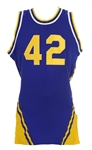 1970s Blue Durene #42 Game Worn Basketball Jersey (MEARS LOA)