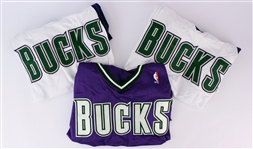 2003-04 Milwaukee Bucks Blank Jersey Collection - Lot of 3 (MEARS LOA)