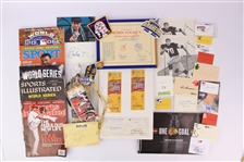 1950s-2000s Baseball Football Hockey Memorabilia Collection - Lot of 100+ w/ World Series Programs, Chicago Blackhawks Stanley Cup Ticket Books, Signed Photos/Cuts & More