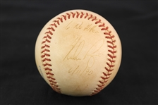 1990 (June 11) Nolan Ryan Texas Rangers Signed OAL Brown No Hitter Game Used Baseball (MEARS LOA/JSA)