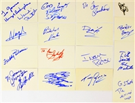 "1970s-90s Wrestler Signed 3"" x 5"" Index Card Collection - Lot of 16 w/ Doink The Clown, Tito Santana, George The Animal Steele & More (JSA)"