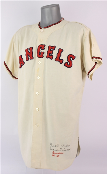 1965 Marv Grissom Los Angeles Angels Signed Game Worn Home Jersey (MEARS A9/JSA)