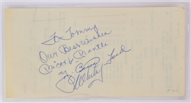 1962 Mickey Mantle Yogi Berra Whitey Ford New York Yankees Signed Laminated Menu Order Slip (JSA)