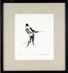 "1972 LeRoy Neiman Signed 16"" x 16"" Framed Warm Up Swing Etching (138/150)"