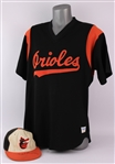 1985-88 Eddie Murray Baltimore Orioles Signed Batting Practice Jersey & Game Worn Cap - Lot of 2 (MEARS LOA/JSA)