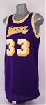 1980-85 Kareem Abdul-Jabbar Los Angeles Lakers Game Worn Road Jersey (MEARS A10)
