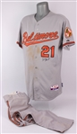 2013 (September 23) Nick Markakis Baltimore Orioles Signed Game Worn Road Jersey + 2011 Road Uniform Pants (MEARS A10/JSA/MLB Hologram)