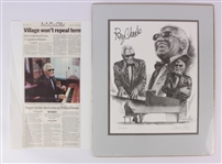 "2001 Ray Charles Secretarial Signed 16"" x 20"" Matted Artist Signed PR Proof Lithograph"