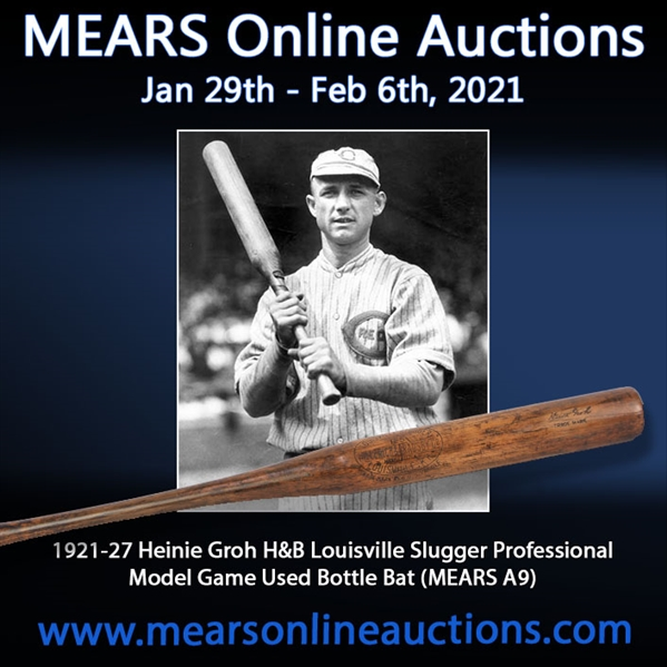 1921-27 Heinie Groh H&B Louisville Slugger Professional Model Game Used Bottle Bat (MEARS A9)