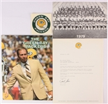 1979-80 Green Bay Packers Memorabilia - Lot of 10 w/ Bart Starr Facsimile Signed Letter, Team Photo, Stickers & More