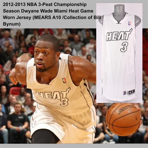 "2012-2013 NBA 3-Peat Championship Season Dwyane Wade Miami ""White"" Heat Game Worn Jersey (MEARS A10 /Collection of Bill Bynum)"
