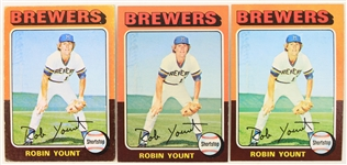 1975 Robin Yount Milwaukee Brewers Topps #223 Rookie Baseball Trading Card - Lot of 3