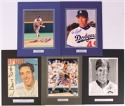 "1990s-2000s Signed 11"" x 14"" Matted Photo Displays - Lot of 5 w/ Bob Feller, Tom Candiotti & More (JSA)"