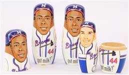 2006 Hank Aaron Eddie Mathews Warren Spahn Milwaukee Braves Nesting Dolls - Lot of 3