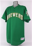 1999 Kyle Peterson Milwaukee Brewers Green St. Patricks Day Spring Training Jersey (MEARS LOA)