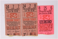 1957 (July 29) Willie Mays New York Giants 171st Career HR Milwaukee County Stadium Ticket Stubs - Lot of 3