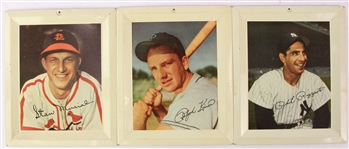 "1946-50 Stan Musial Ralph Kiner Phil Rizzuto 4.75"" x 5.75"" Tin Photo Displays - Lot of 3"