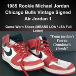 "1985 Rookie Michael Jordan Chicago Bulls Vintage Signed Air Jordan 1 Game Worn Shoes (MEARS LOA / JSA Full Letter) ""From Jordans Feet to Grandmas Hands"""