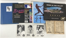 1950s-2000s Milwaukee Braves Brewers Baseball Memorabilia Collection - Lot of 100+ w/ Publications, Dennis Biddle Autographs & More