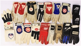 1980s-90s Game Worn Batting Gloves & Wristbands - Lot of 19 (MEARS LOA)