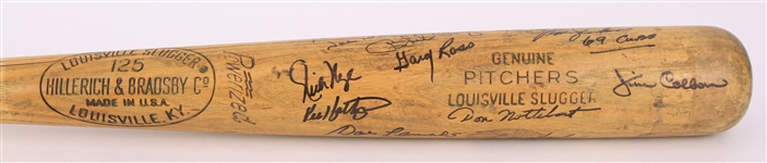 1969 Chicago Cubs Pitchers Multi Signed H&B Louisville Slugger Professional Model Game Used Bat w/ 11 Signatures Including Fergie Jenkins, Joe Niekro & More (MEARS LOA/JSA)