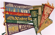 1950s-60s Americana Felt Pennant Collection - Lot of 50+ w/ Statue of Liberty, Niagara Falls, Notre Dame & More