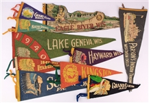 1940s-60s Native American Felt Pennant Collection - Lot of 13 w/ Grand Canyon, Wisconsin Dells, Lake Geneva & More