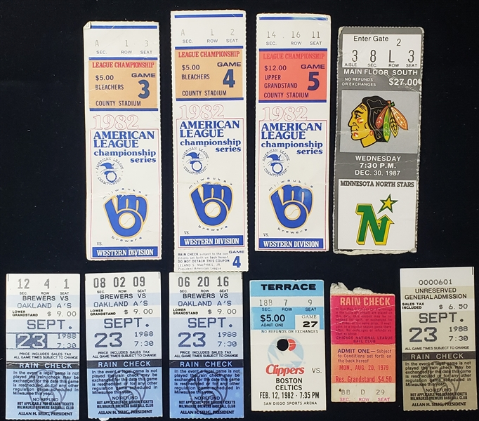 1979-88 Baseball Basketball Hockey Ticket Stubs - Lot of 10 w/ 1982 Milwaukee Brewers ALCS, Jose Canseco 40th Stolen Base Game & More