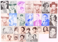 1950s Hollywood Exhibit Cards - Lot of 25 w/ Gene Autry, Roy Rogers, Jo Stafford, Piper Laurie, Dinah Shore & More