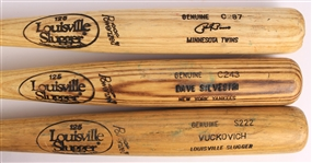 1983-95 Louisville Slugger Professional Model Game Used Bats - Lot of 3 with Vuckovich/Simmons, Dave Silvestri & Paul Russo