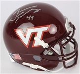 2018 Tremaine Edmunds Virginia Tech Hokies Signed Mini Helmet (Beckett)