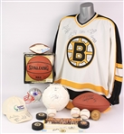 1990s-2000s Boston Sports Signed Collection - Lot of 15 w/ Balls, Pucks, Jersey & More (JSA)