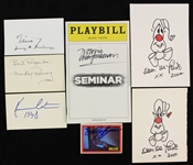 1980s-2000s Hollywood Autograph Collection - Lot of 7 w/ Kevin Costner Index Card, Dom DeLuise Sketches & More (JSA)