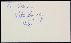 1980s Peter Benchley Jaws Author Signed Index Card w/ Shark Sketch (JSA)