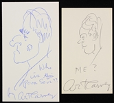1970s Art Carney The Honeymooners Signed Index Card Sketches - Lot of 2 (JSA)